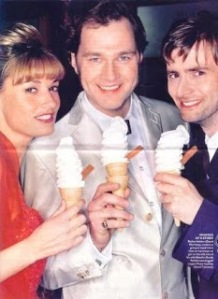 Sarah Parish with her two love interests in Blackpool, David Morrissey and David Tennant