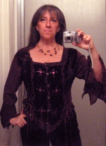 This is the top that prompted me to take my weight more seriously in 2013. I wanted to wear it to a Solstice celebration in 2012 and couldn't even button it! This year I wore it on Christmas Day, after losing 35 pounds.